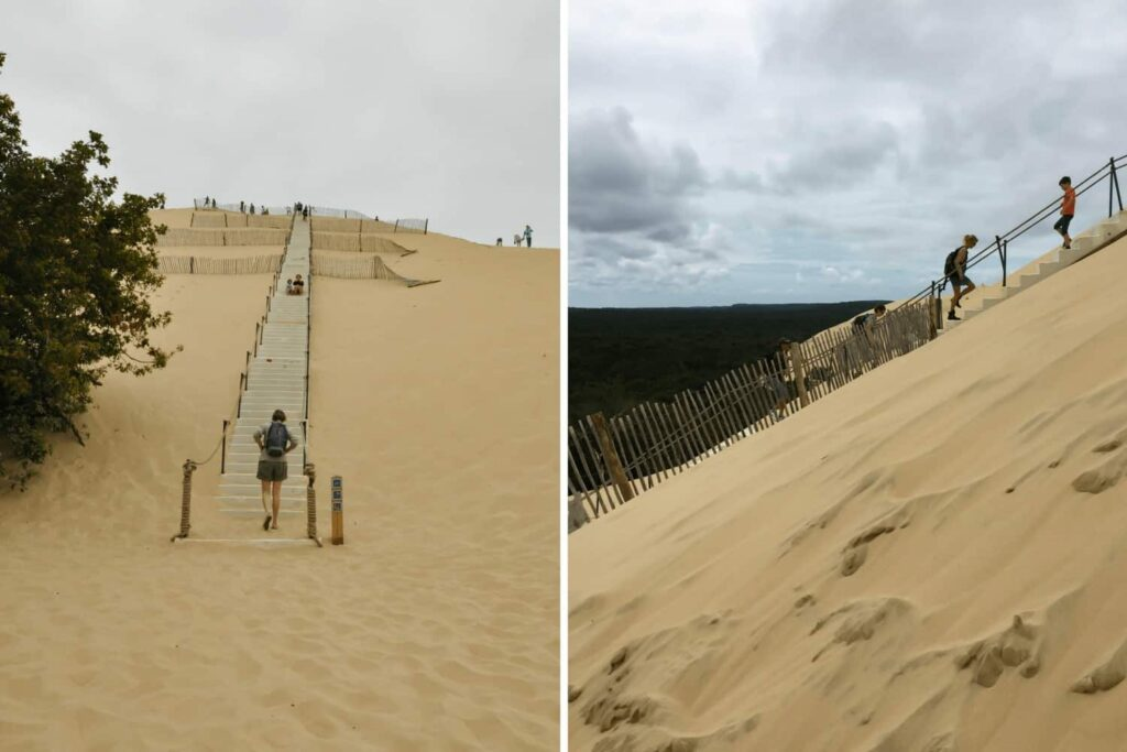 Climbing the dune du pyla, dune du pilat, France