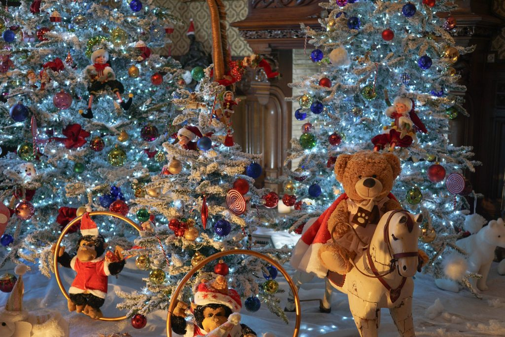 Xmas decorations inside the Chateau de Crazannes