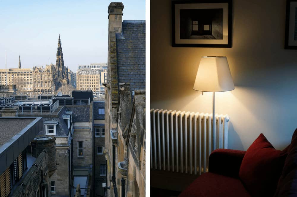 View from the Old Town Chambers accommodation in Edinburgh