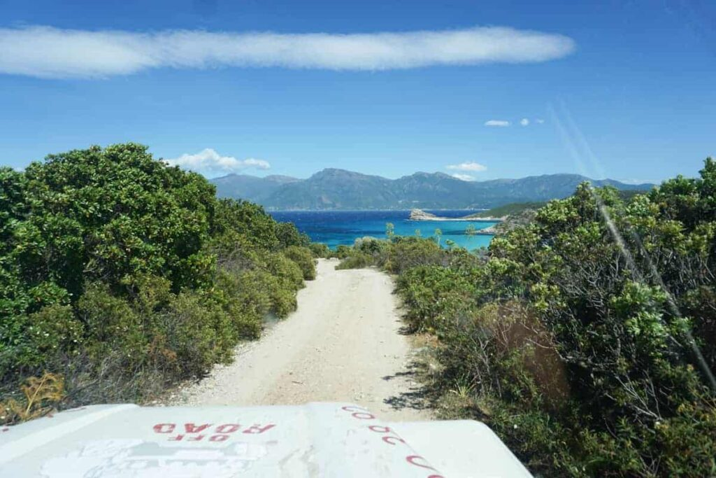 Off-roading to Saleccia and Loto Beach. Driving to Saleccia and Loto in a 4x4