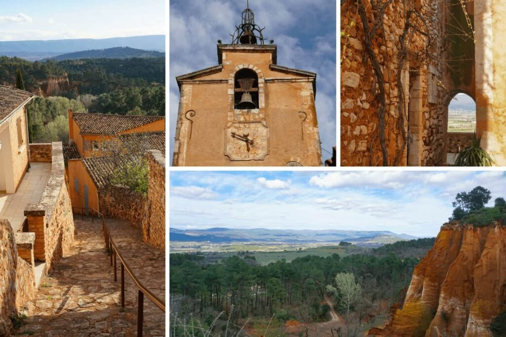 Views over Vaucluse and the Luberon Regional Park in France, from Roussillon Village