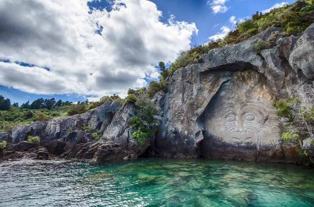 Mine Bay Rock Carvings on Lake Taupo, New Zealand