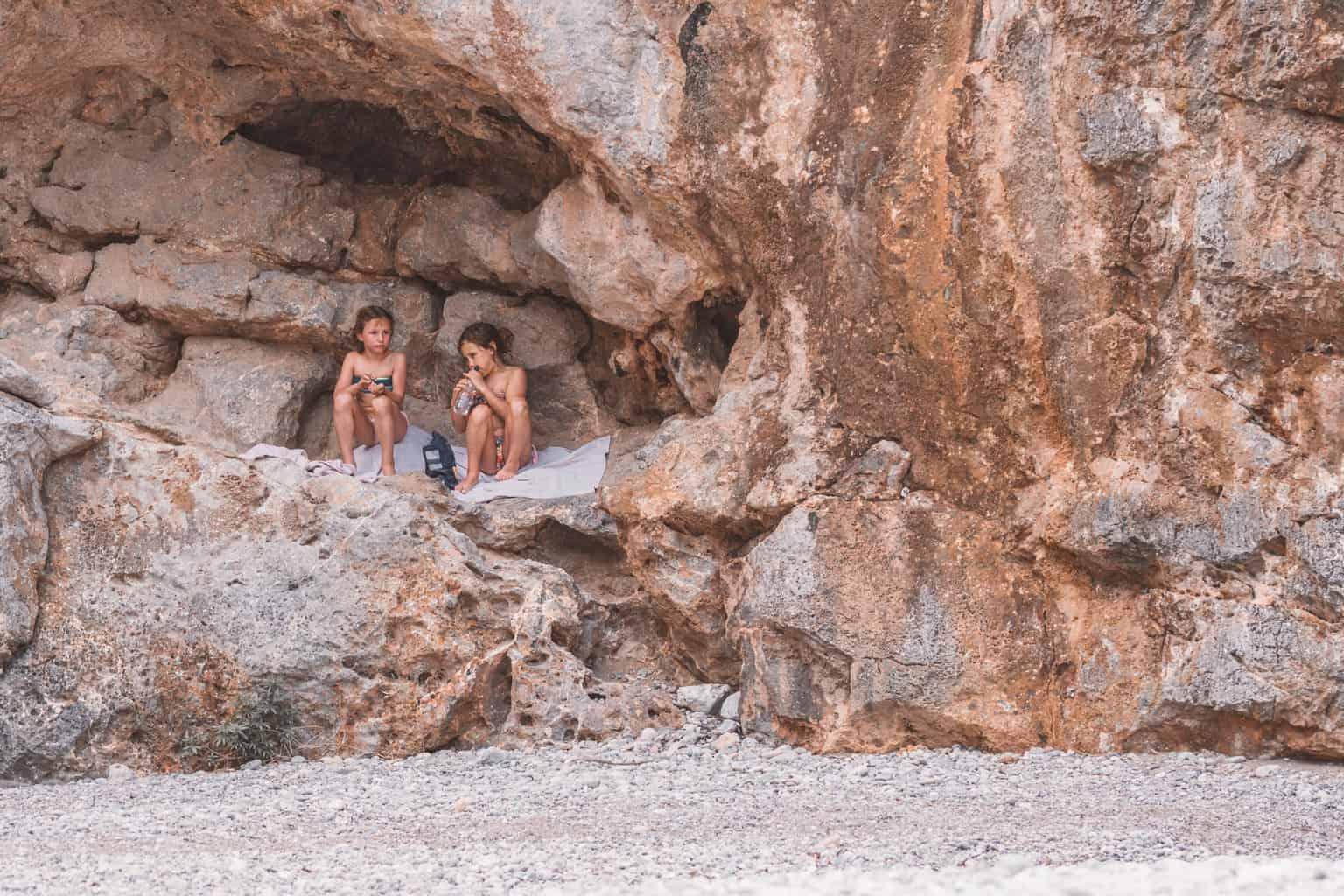 Children on beach at Sa Calobra in Mallorca