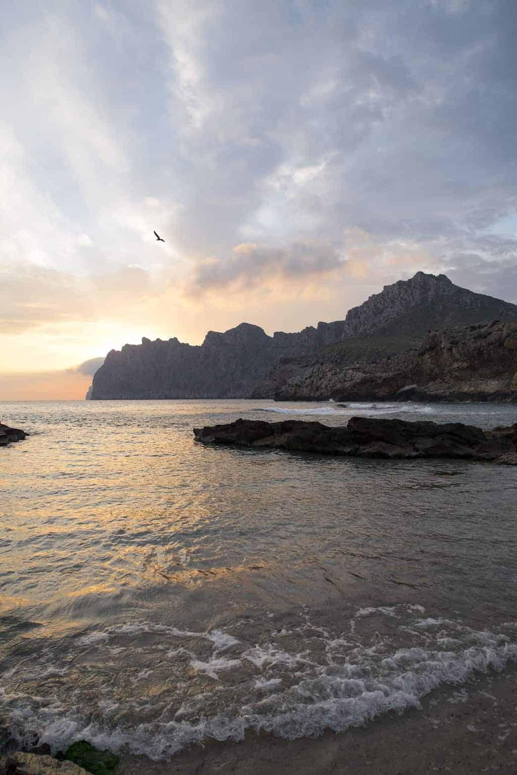 Sunrise on the beach in Mallorca