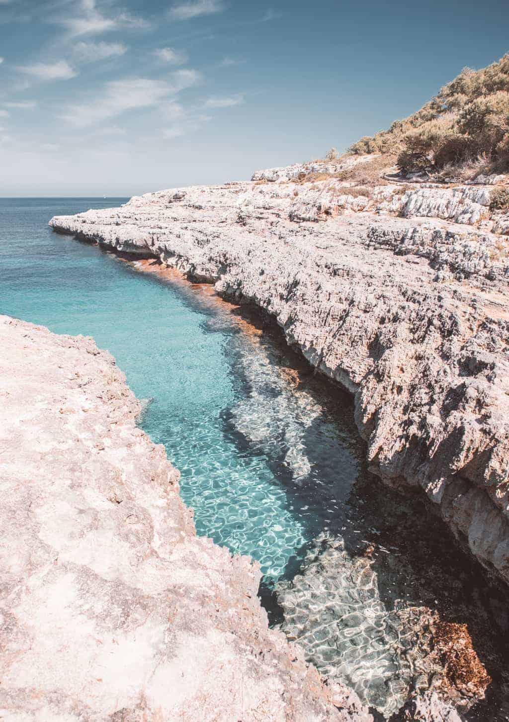 Clear blue water at beach in Mallorca, Spain.