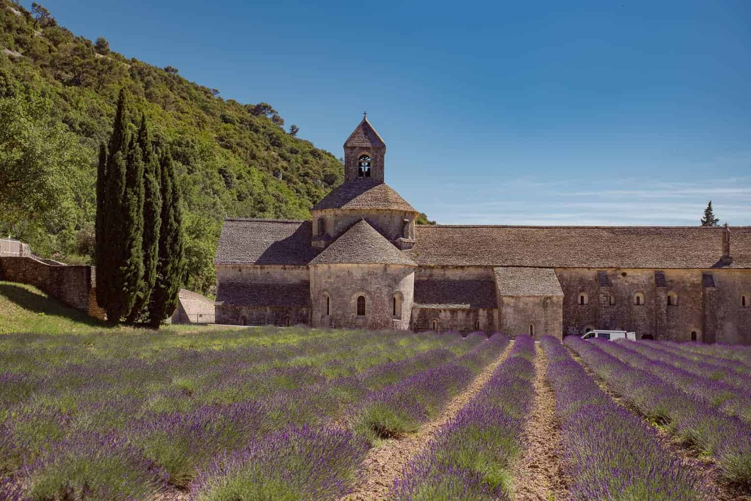 Visiting the Abbaye de Sénanque on a luxury lavender tour in Provence.
