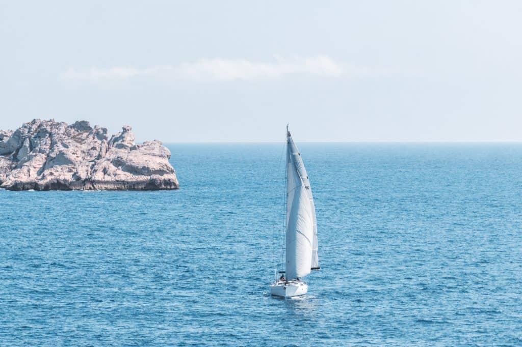 Sailing ship near Les Goudes, Marseille, France