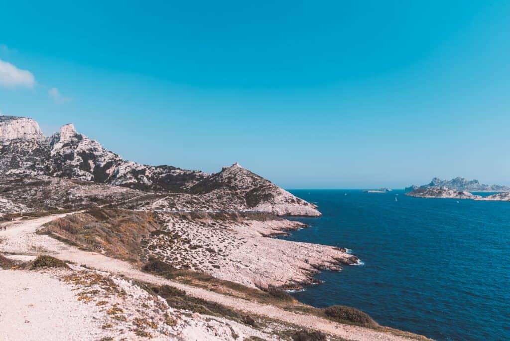 The road to Calanque de Callelongue, near Marseille, France