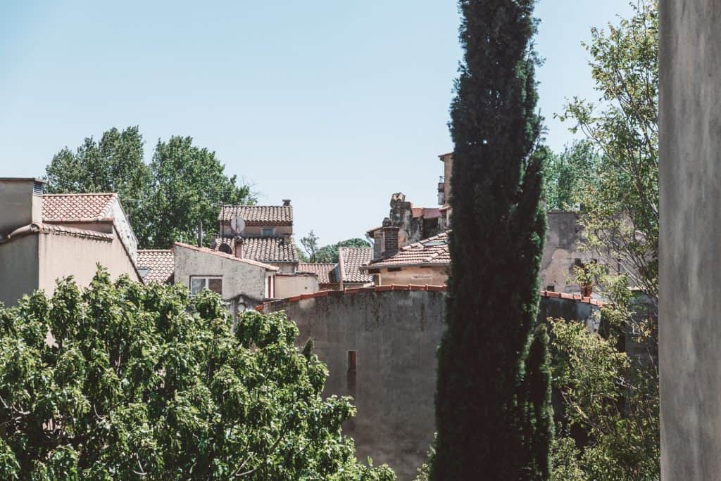 The view from Les Jardins de Baracane in Avignon, France