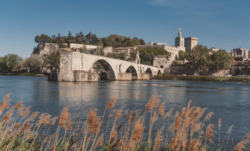 The view of Pont d'Avignon, from the île de la Barthelasse, France