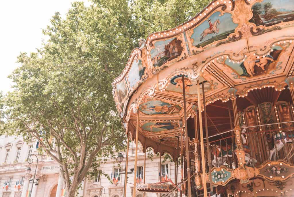 Carousel in the streets of Avignon, France