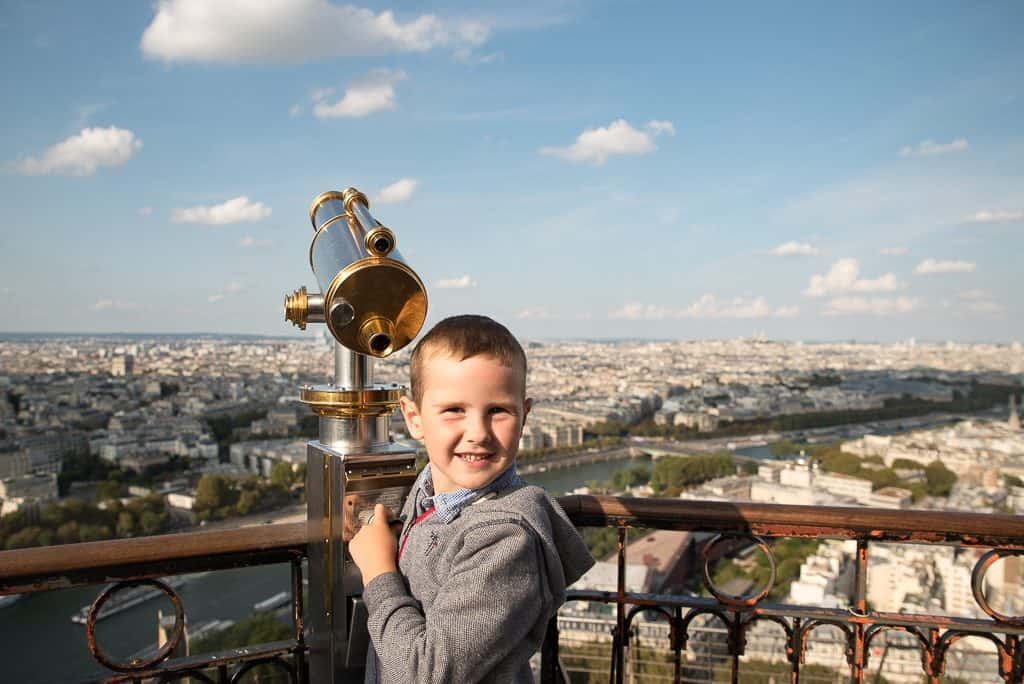 Climbing the eiffel tower in Paris with kids