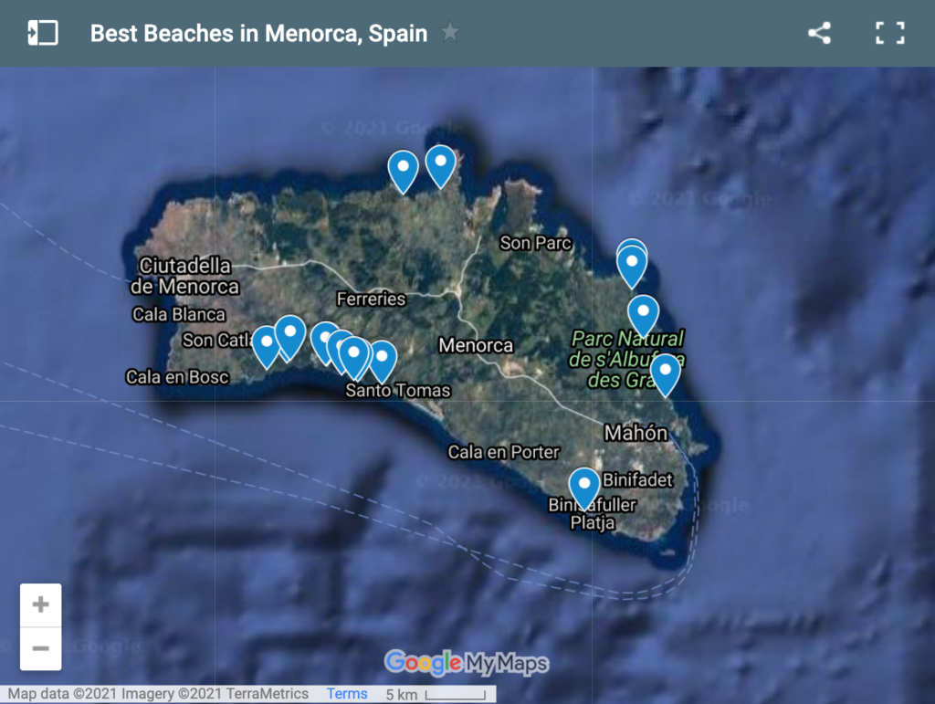 Map of the best beaches in Menorca