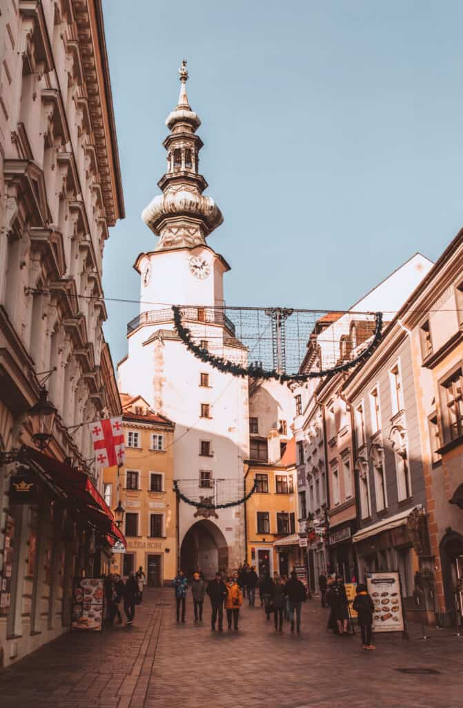 St Micheal's Gate is a key thing to see when spending one day in Bratislava
