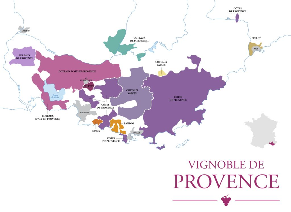 Wine Regions in Provence Map