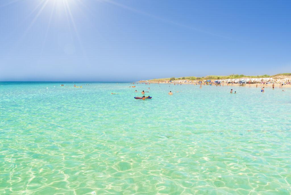 Pescoluse, the Maldives of salento beach, Puglia, Italy.